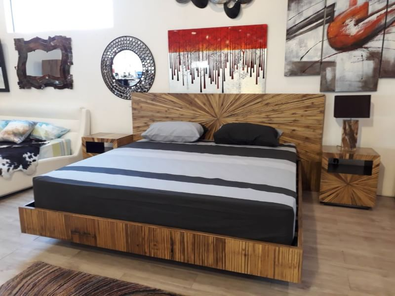 SUNBURST BED AND SIDE TABLE IN BAMBOO