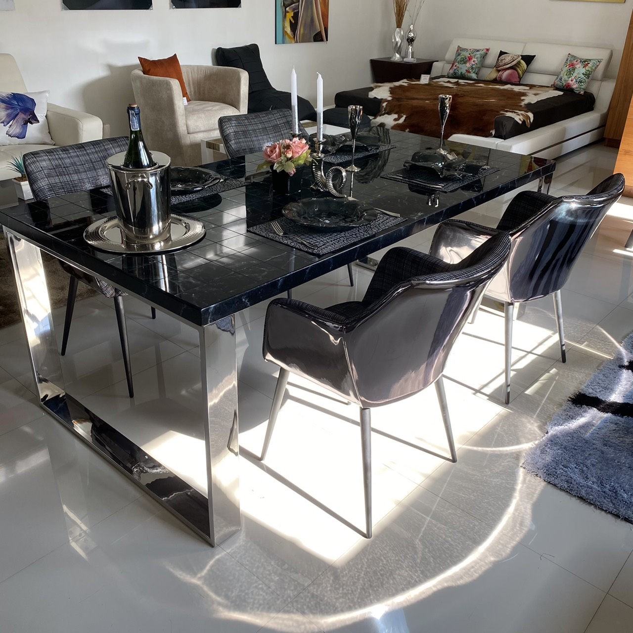 Black Onyx mosaic dining table